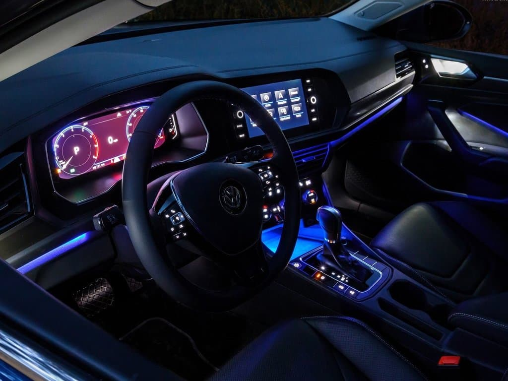 Interior view of the LED lighting inside the 2019 Volkswagen Jetta at night