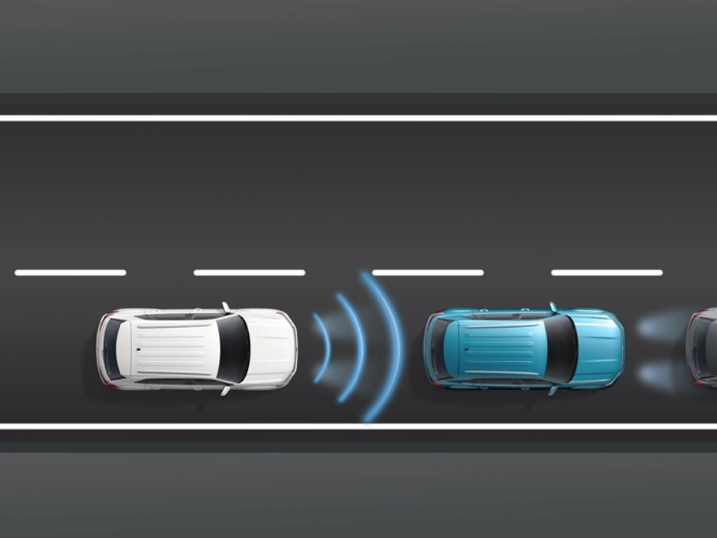 3-D Model of the VW adaptive cruise control with stop and go technology on display